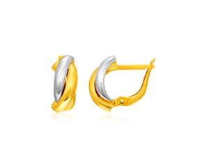 14k Two-Tone Gold Interlaced Twisted Earrings