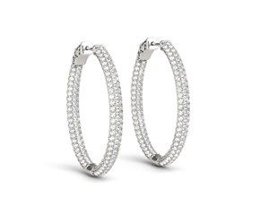Double Sided Three Row Diamond Hoop Earrings in 14k White Gold (2 cttw)