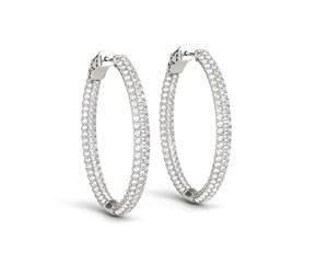 Double Sided Three Row Diamond Hoop Earrings in 14k White Gold (2 cttw)