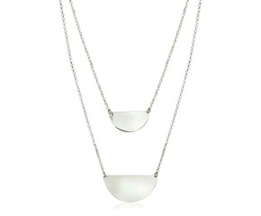 Sterling Silver 16 inch Two Strand Necklace with Polished Half Circles
