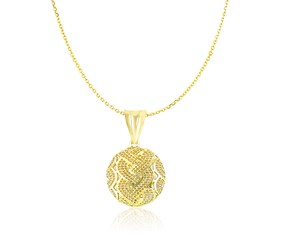 Fancy Woven and Mesh Design Round Pendant in 14k Yellow Gold