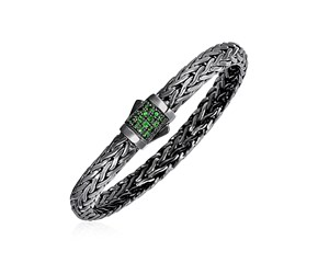 Woven Rope Bracelet with Tsavorite and Black Finish in Sterling Silver