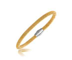 Yellow Gold Plated Popcorn Bangle in Rhodium Plated Sterling Silver