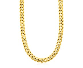 14k Yellow Gold Miami Cuban Chain Necklace with White Pave