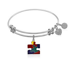 Expandable White Tone Brass Bangle with Autism Awareness Enamel Symbol