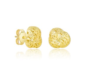 Flower Bud Sanded Texture Puff Earrings in 14k Yellow Gold