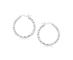 Hoop Earrings with a Woven Style in Rhodium Plated Sterling Silver