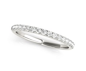 14k White Gold Diamond Scallop Setting Wedding Band (1/3 cttw)