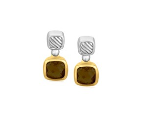Cushion Smokey Topaz Drop Earrings in 18K Yellow Gold and Sterling Silver