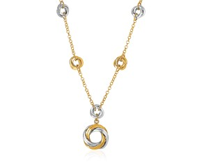 14k Two-Tone Yellow and White Gold Swirl Motif Necklace