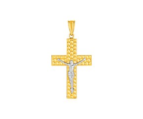 Textured Crucifix Pendant in 14k Two Tone Gold