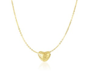 Mesh Puffed Heart Shape Necklace in 14k Yellow Gold