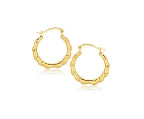 Bamboo Hoop Earrings in 10k Yellow Gold