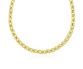 Entwined Oval and Textured Round Link Necklace in 14k Yellow Gold