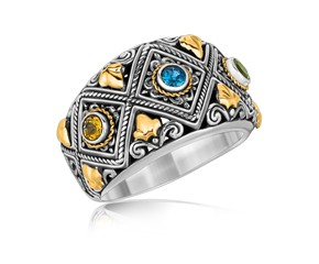 Diamond Pattern Multi Stone Accented Ring in 18k Yellow Gold and Sterling Silver