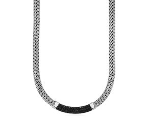 Wide Woven Rope Necklace with Black Sapphire Accents in Sterling Silver
