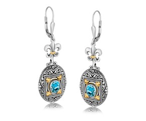 Rectangle Framed and Scrollwork Detailed Fleur De Lis Oval Blue Topaz Dangling Earrings in 18k Yellow Gold and Sterling Silver