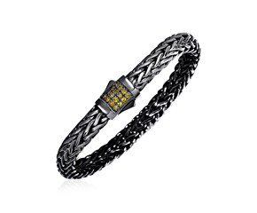 Woven Rope Bracelet with Yellow Sapphire and Black Finish in Sterling Silver