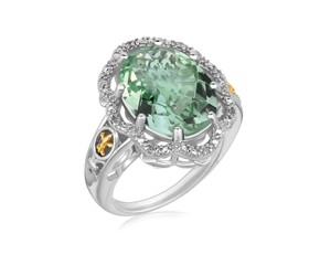 Oval Green Amethyst and Diamond Embellished Fleur De Lis Design Ring in 18K Yellow Gold and Sterling Silver (.03 ct. tw.)