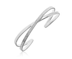 X Motif Diamond Dust Open Cuff in Sterling Silver