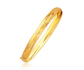 Classic Floral Cut Bangle in 14k Yellow Gold (6.0mm)