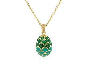 14K Yellow Gold Necklace with Green Enameled Egg