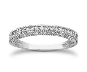 Fancy Pave Diamond Milgrain Wedding Ring Band in 14K White Gold