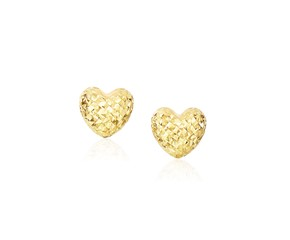 Diamond Cut Puffed Heart Earrings in 14k Yellow Gold