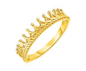 14k Yellow Gold Crown Motif Ring