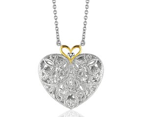Filigree Heart Pendant with Diamonds in Sterling Silver and 14k Yellow Gold