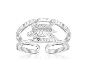 Turtle Design Open Toe Ring in Rhodium Plated Sterling Silver