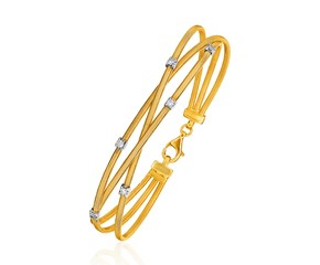 14k Three-Part Gold and 3pt Diamond Bangle Bracelet with Clasp (1/5 cttw)