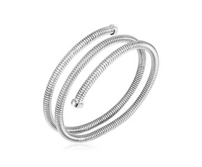 Sterling Silver Serpentine Style Three Coil Bangle Bracelet