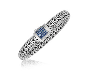 Blue Sapphire Accented Braided Men's Bracelet in Sterling Silver