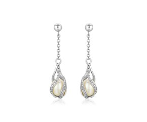 Sterling Silver Twisted Cage Style Earrings with Freshwater Pearls