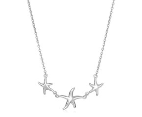 Sterling Silver Necklace with Three Starfish