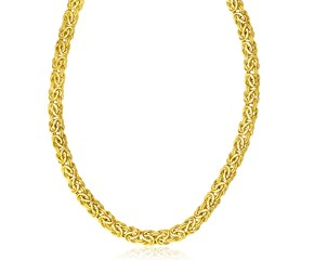 Fancy Byzantine Style Chain Necklace in 14k Yellow Gold