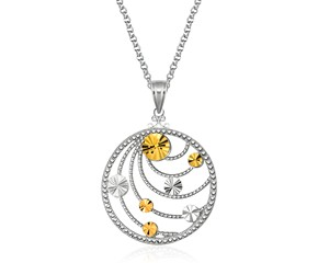 Swirl Medallion in Sterling Silver and 14k Yellow Gold