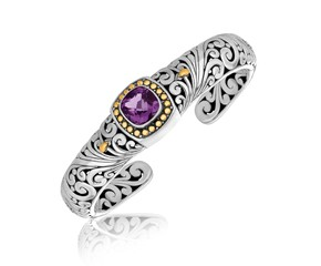 Cushion Amethyst Accented Baroque Open Bangle in 18K Yellow Gold and Sterling Silver