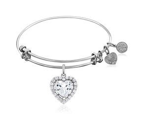 Expandable White Tone Brass Bangle with Heart Shaped Cubic Zirconia