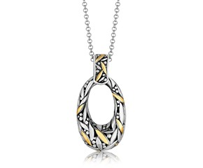 Open Graduated Oval Leaf Motif Pendant in 18K Yellow Gold and Sterling Silver