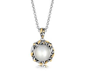 Pearl Accented Round Leaf Motif Pendant in 18k Yellow Gold and Sterling Silver