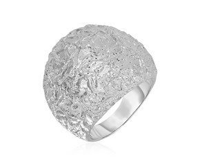 Textured Dome Ring with White Finish in Sterling Silver