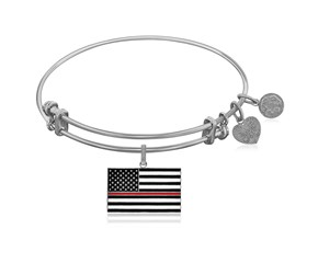 Expandable White Tone Brass Bangle with Enamel Thin Red Line Symbol