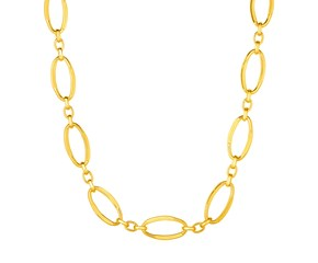 14k Yellow Gold Necklace with Polished Oval Links