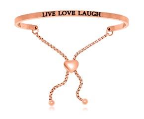 Pink Stainless Steel Live Love Laugh Adjustable Bracelet