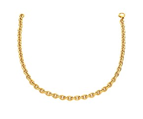 Oval Cable Link Necklace in 14k Yellow Gold