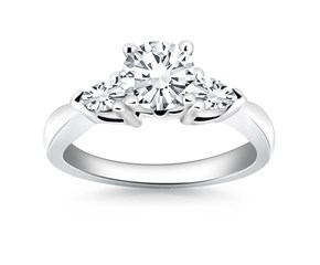 Diamond Three Stone Ring with Pear Shape Sides in 14k White Gold