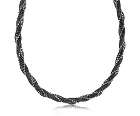 Spiral Mesh, Wheat, and Bead Necklace in Rhodium and Ruthenium Plated Sterling Silver