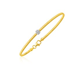 14k Two Tone Gold Bangle with Brushed Texture and Diamonds